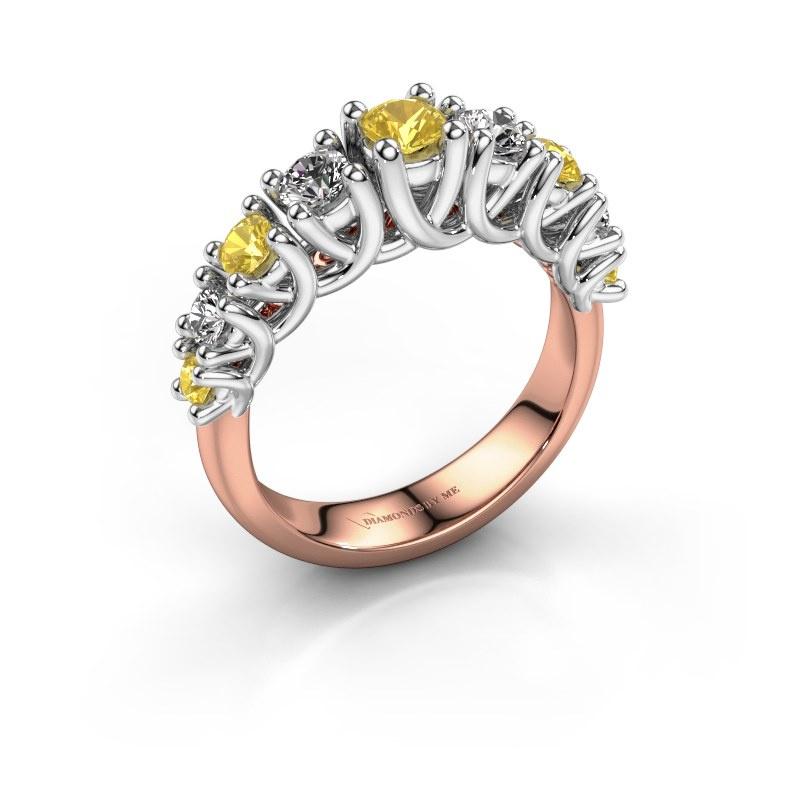 Engagement ring Fatima 585 rose gold yellow sapphire 3.7 mm