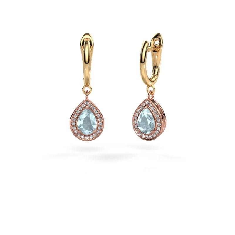 Drop earrings Ginger 1 585 rose gold aquamarine 7x5 mm