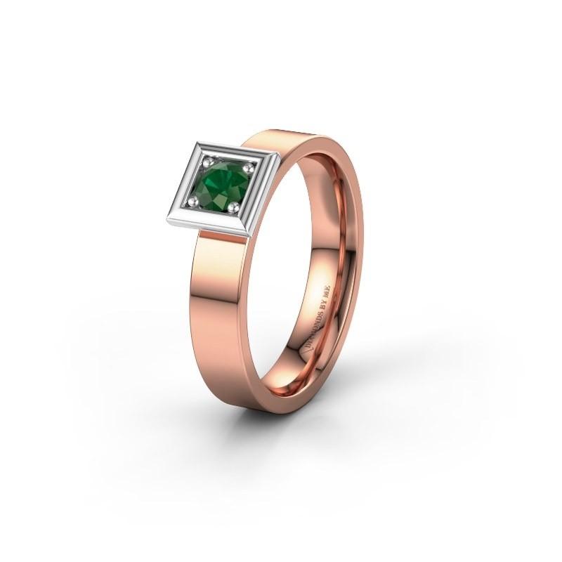 Trouwring WH2112L14A 585 rosé goud smaragd ±4x1.7 mm