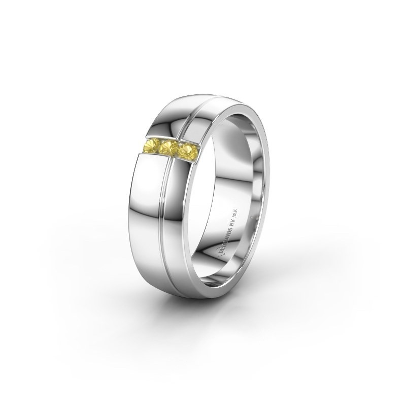 Wedding ring WH0223L56A 585 white gold yellow sapphire ±6x1.7 mm