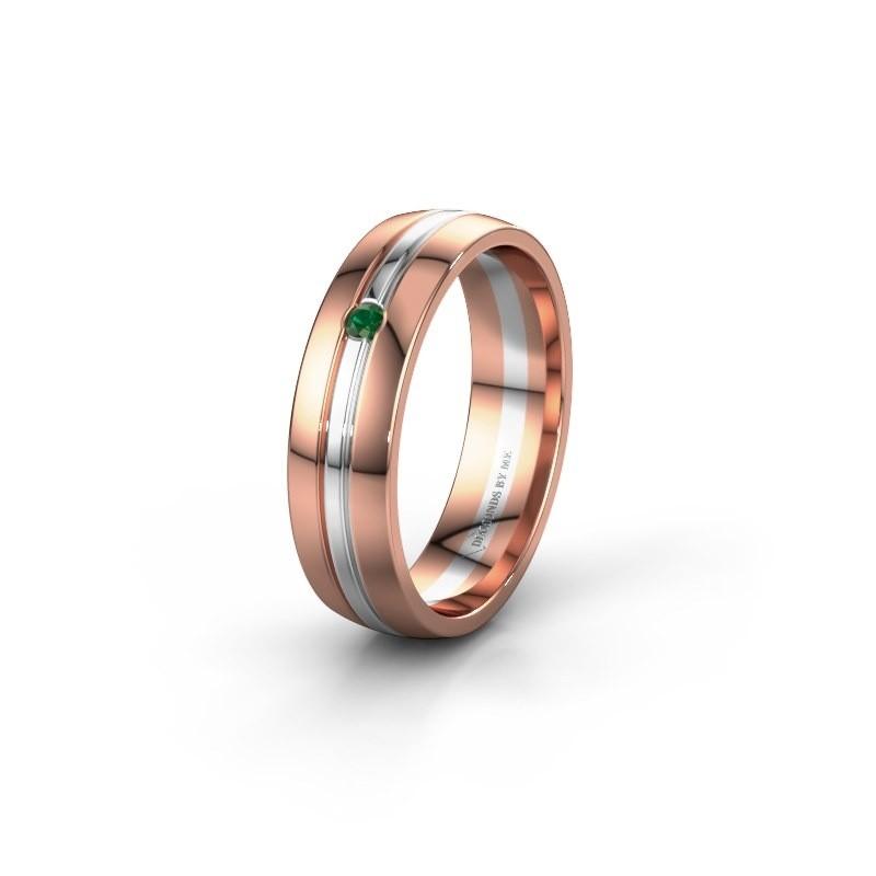 Trouwring WH0420L25X 585 rosé goud smaragd ±5x1.5 mm