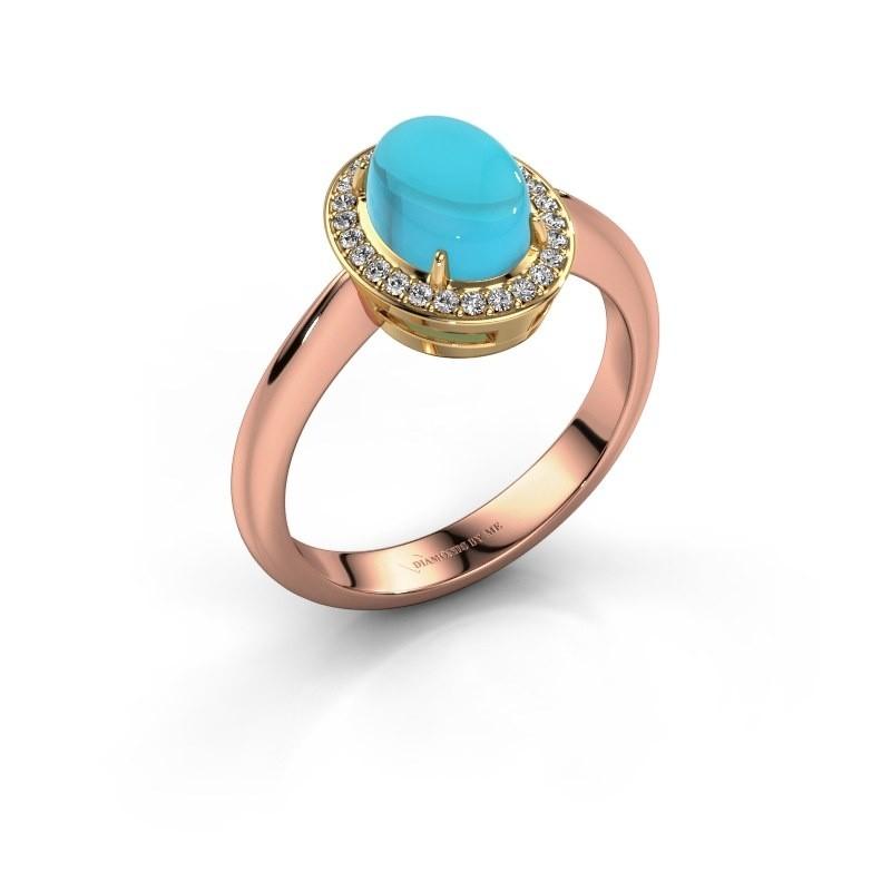 Ring Kristian 585 rosé goud blauw topaas 8x6 mm
