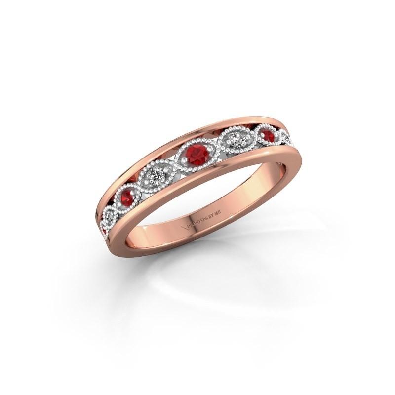 Aanschuifring Laine 585 rosé goud robijn 2 mm