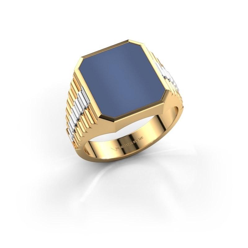Zegelring Brent 3 585 goud blauw lagensteen 14x12 mm