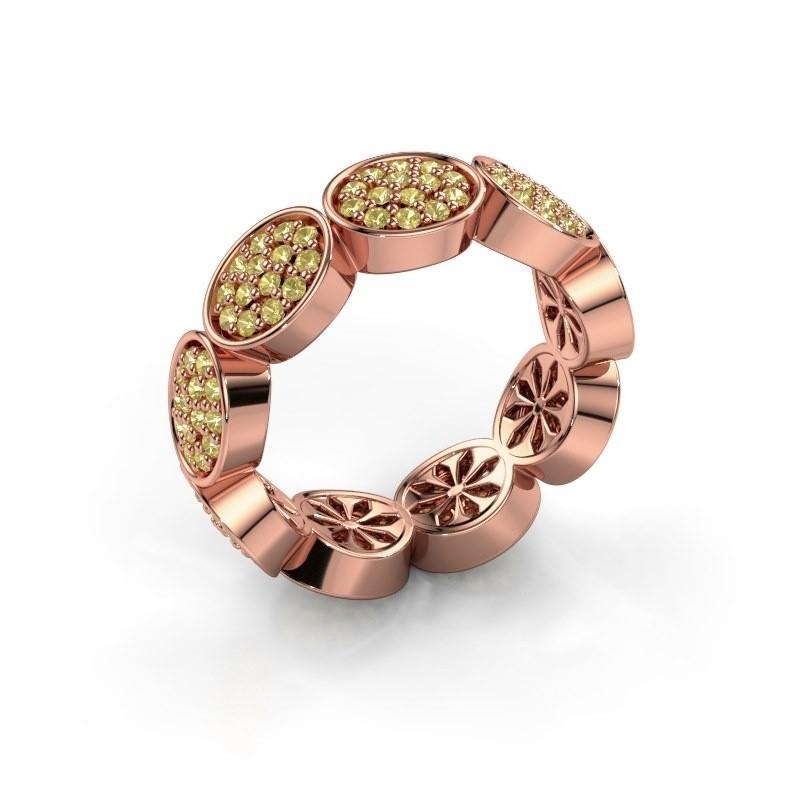 Ring Robin 375 rosé goud gele saffier 1.2 mm