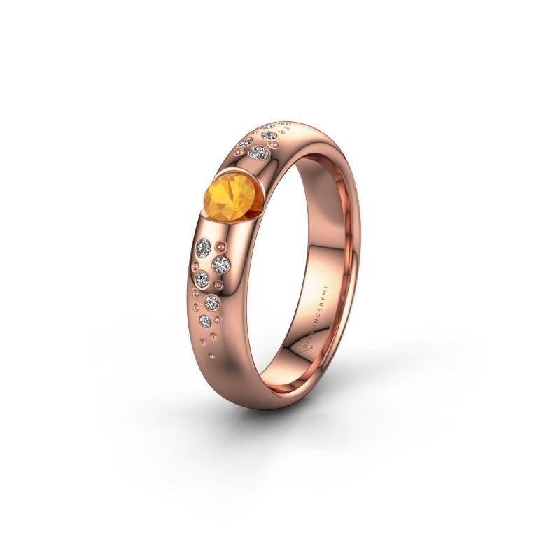 Trouwring WH2104L34A 375 rosé goud citrien ±4x1.7 mm