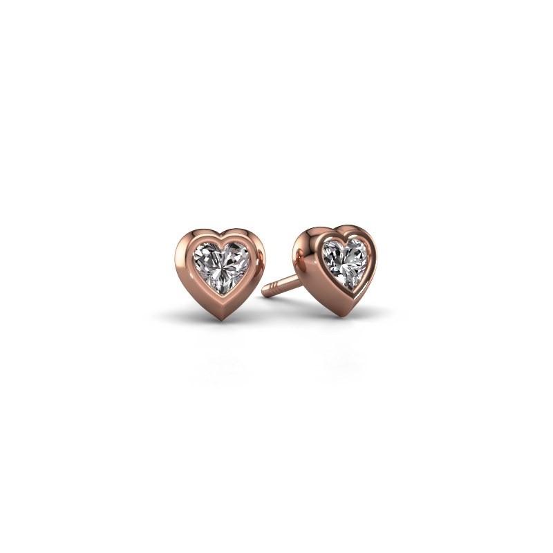 Oorknopjes Charlotte 750 rosé goud diamant 0.50 crt