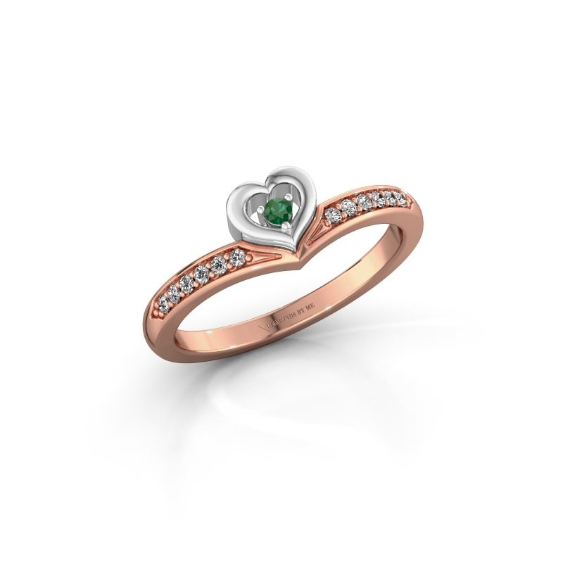 Ring Mimi 585 rosé goud smaragd 2 mm