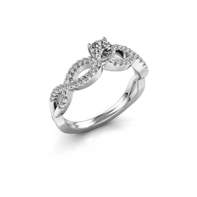 Engagement ring Hanneke 585 white gold diamond 0.25 crt
