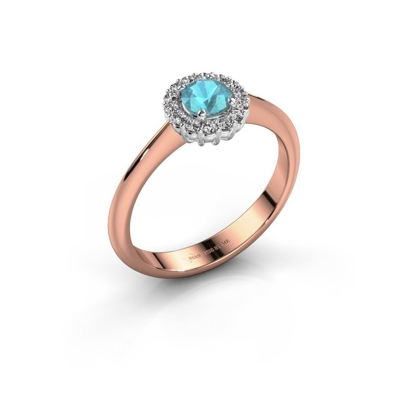 Verlovingsring Anca 585 rosé goud blauw topaas 4.2 mm