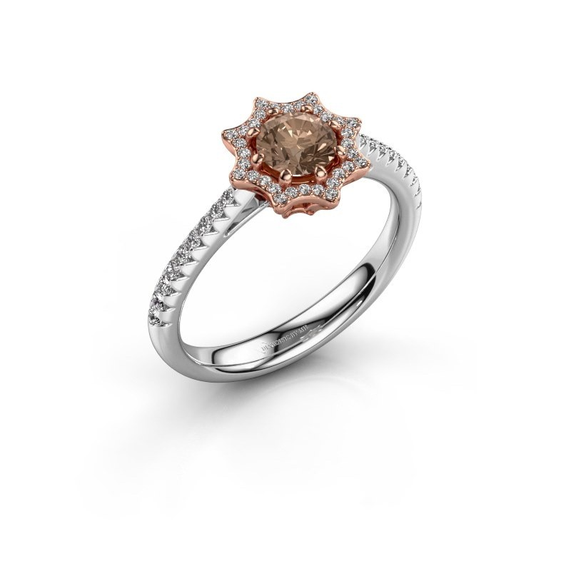 Aanzoeksring Zena 585 rosé goud bruine diamant 0.730 crt