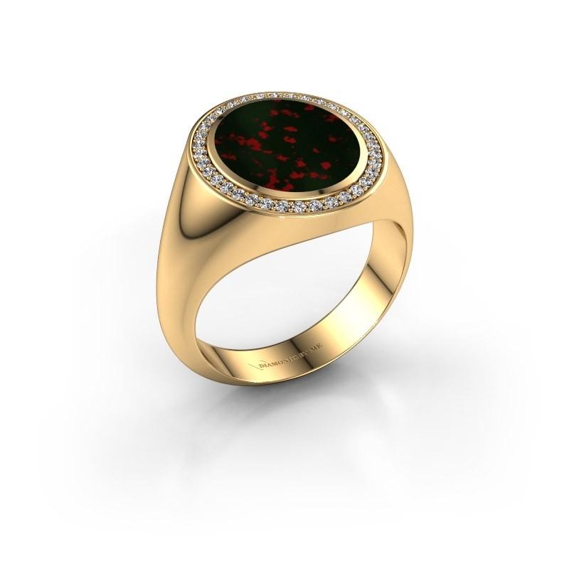 Zegel ring Adam 3 585 goud heliotroop 13x11 mm