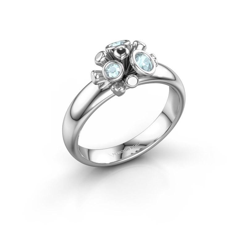 Ring Pameila 925 zilver aquamarijn 2 mm