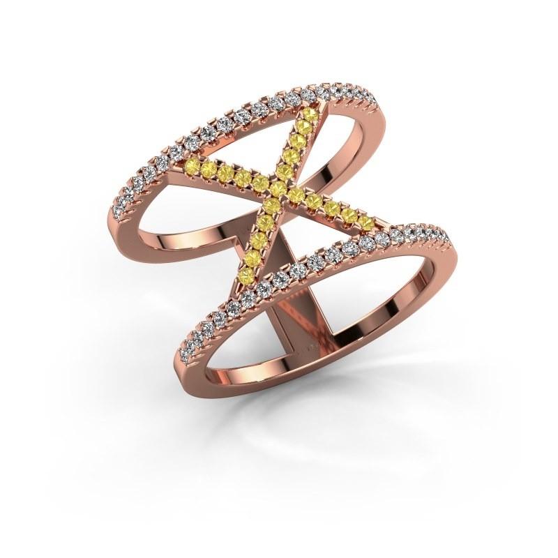 Ring Sharri 2 375 rosé goud gele saffier 1.1 mm