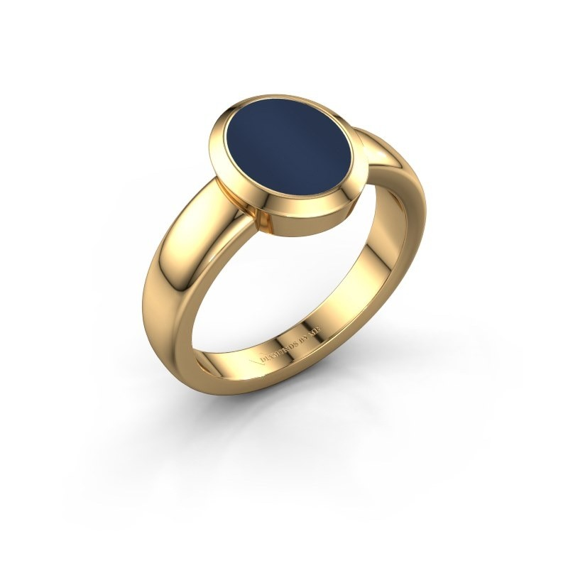 Zegelring Oscar 1 F 585 goud donker blauw lagensteen 10x8 mm