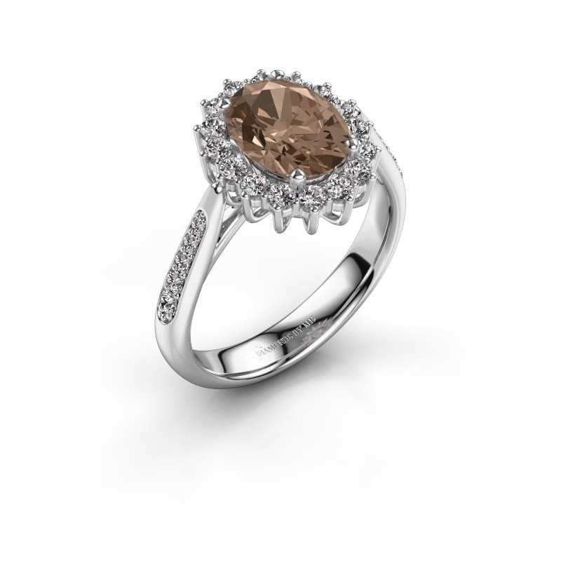 Verlovingsring Margien 2 585 witgoud bruine diamant 0.80 crt