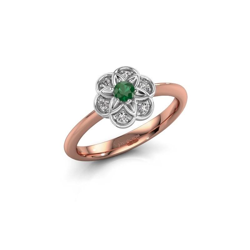 Verlobungsring Uma 585 Roségold Smaragd 3 mm