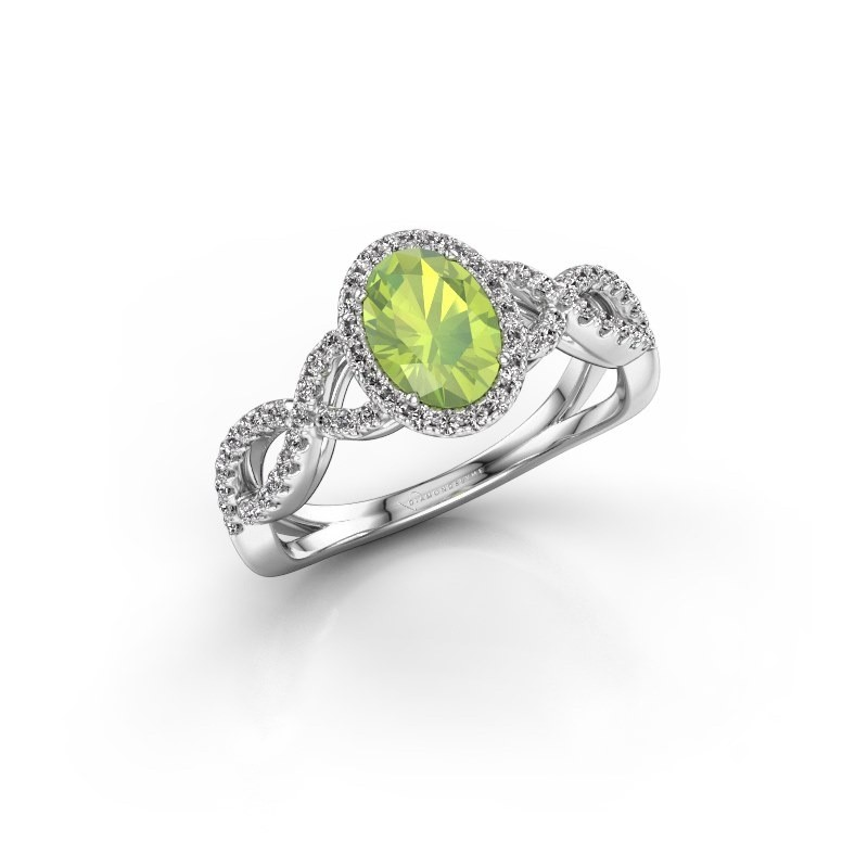 Engagement ring Dionne ovl 925 silver peridot 7x5 mm