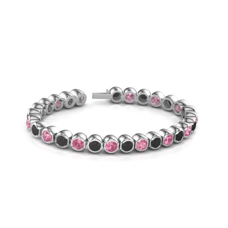 Tennisarmband Delma 585 witgoud roze saffier 5 mm