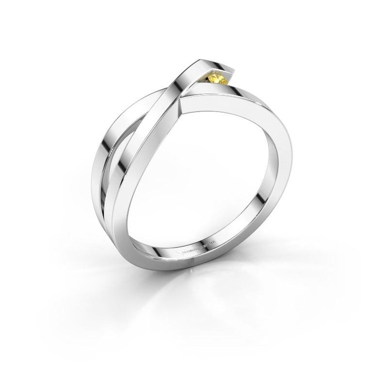 Ring Alyssa 585 white gold yellow sapphire 2 mm