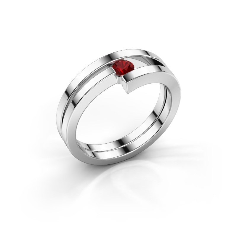 Ring Nikia 925 zilver robijn 3.4 mm
