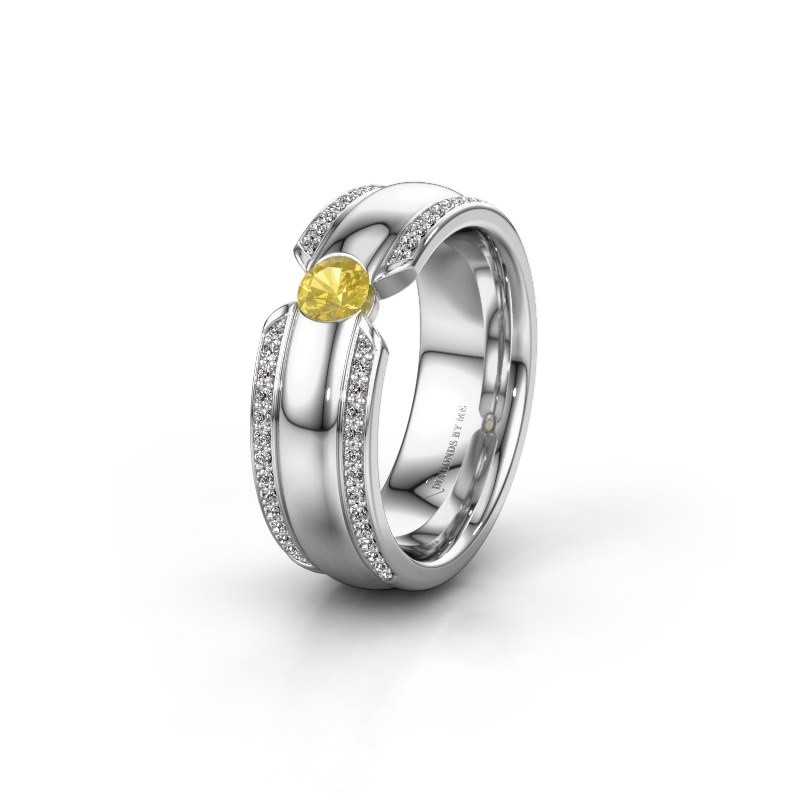 Wedding ring WHR0575L 585 white gold yellow sapphire ±0.28x0.08 in