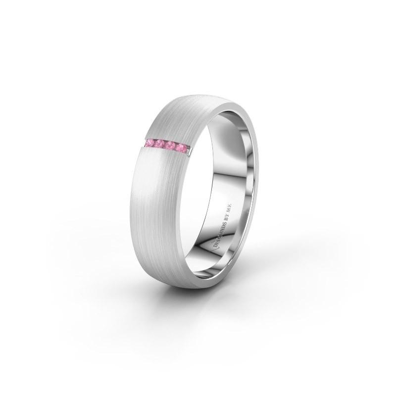 Trouwring WH0154L25XM 950 platina roze saffier ±5x1.4 mm