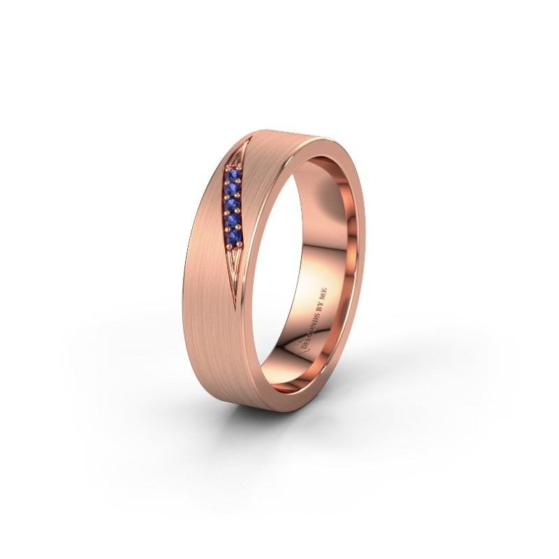 Trouwring WH2148L25AM 585 rosé goud saffier ±5x1.7 mm