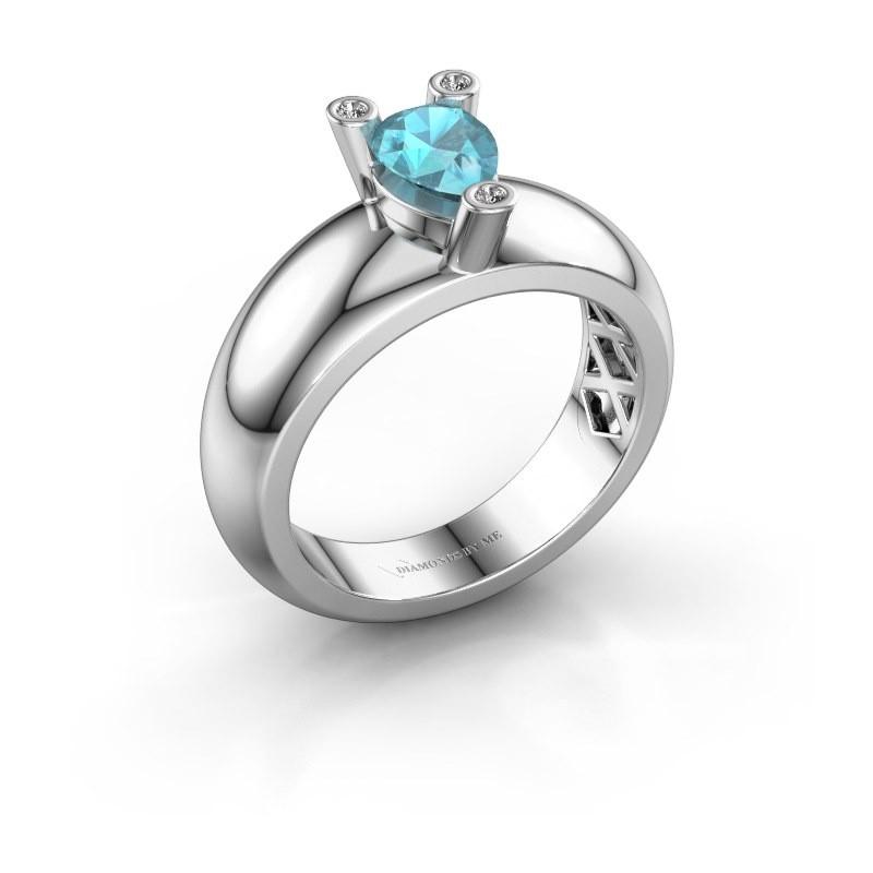 Ring Cornelia Pear 585 Weißgold Blau Topas 7x5 mm