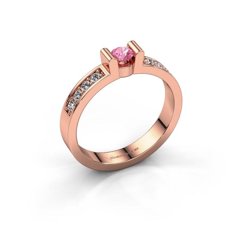 Verlovingsring Sofie 2 375 rosé goud roze saffier 3.4 mm