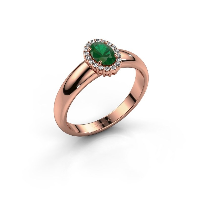 Engagement ring Tamie 375 rose gold emerald 6x4 mm