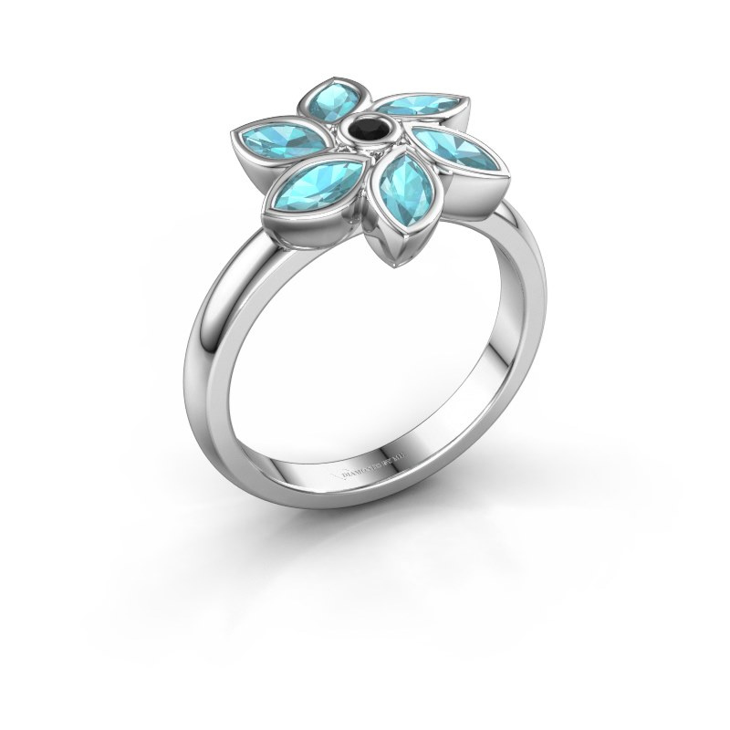 Ring Amina 585 white gold black diamond 0.036 crt