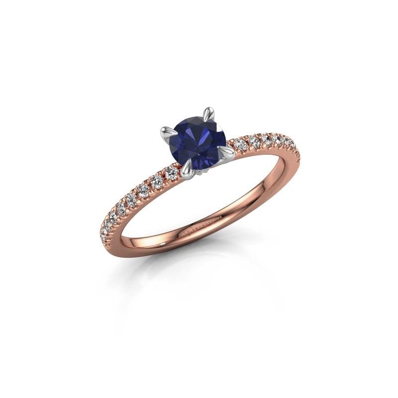 Verlovingsring Crystal rnd 2 585 rosé goud saffier 5 mm