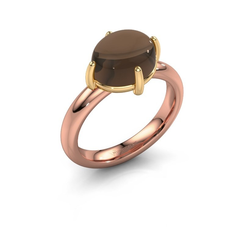 Ring Melodee 585 rosé goud rookkwarts 10x8 mm