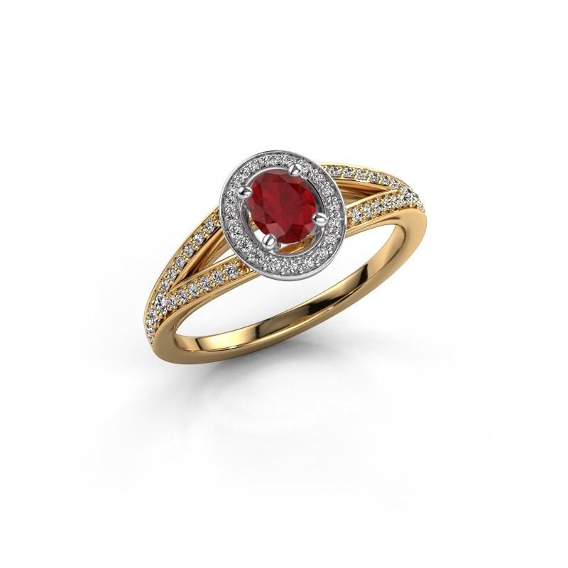 Verlovings ring Angelita OVL 585 goud robijn 6x4 mm