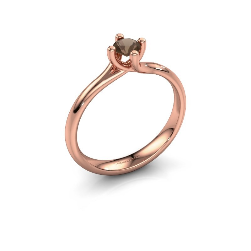 Engagement ring Dewi Round 375 rose gold smokey quartz 4 mm
