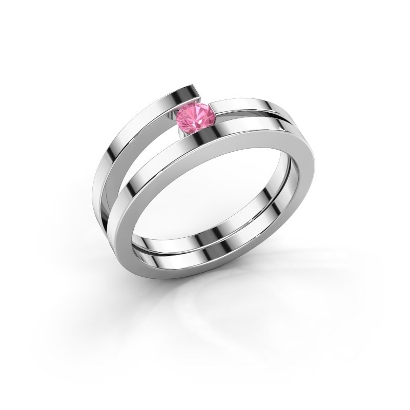 Ring Sandy 585 witgoud roze saffier 3.4 mm