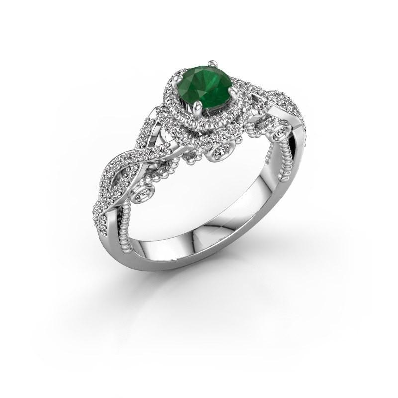 Verlovingsring Leora 950 platina smaragd 4.7 mm