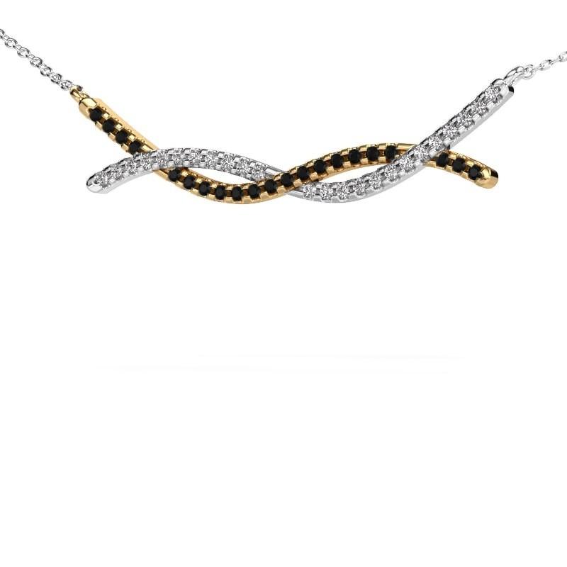 Bar Kette Breanne 585 Gold Schwarz Diamant 0.369 crt