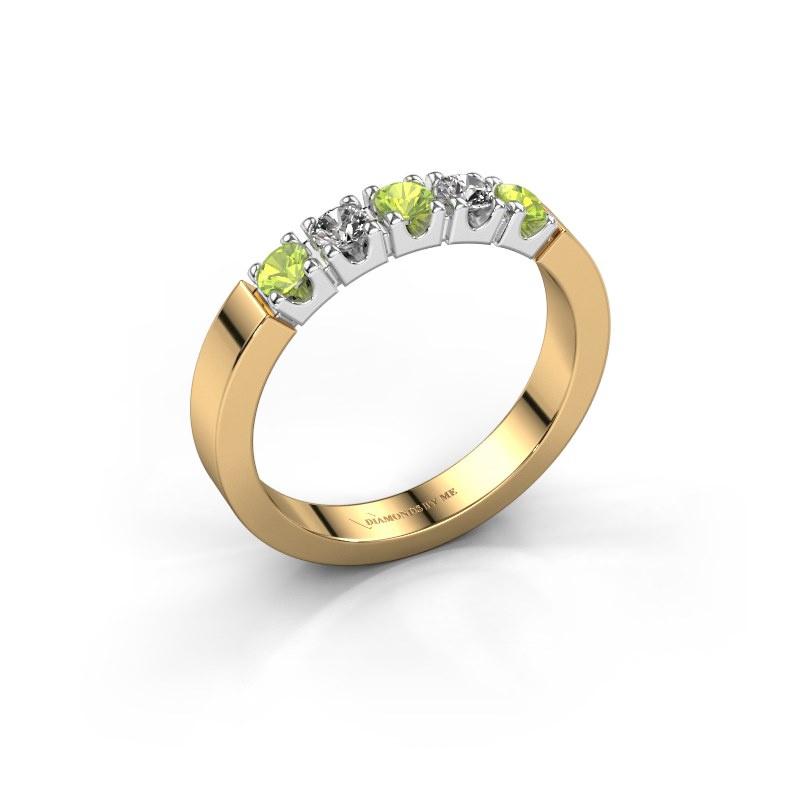 Engagement ring Dana 5 585 gold peridot 3 mm
