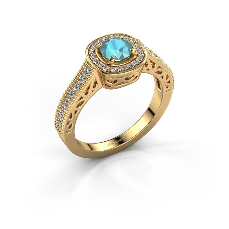 Engagement ring Candi 375 gold blue topaz 5 mm