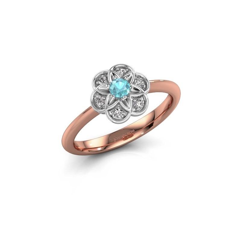 Engagement ring Uma 585 rose gold blue topaz 3 mm