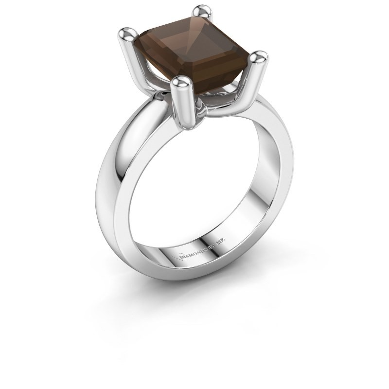 Ring Clelia EME 950 platinum smokey quartz 10x8 mm