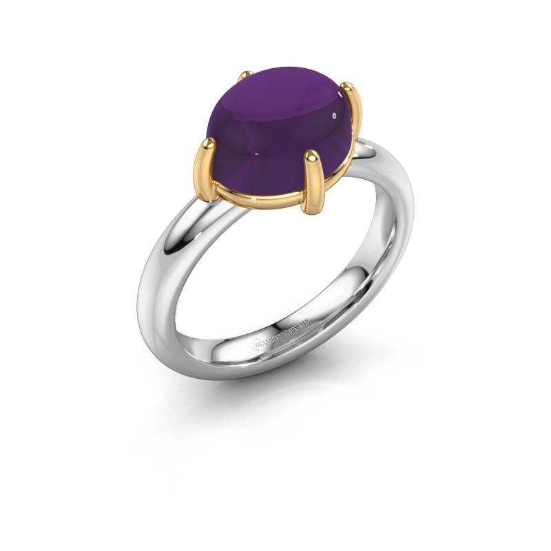 Ring Melodee 585 witgoud amethist 10x8 mm