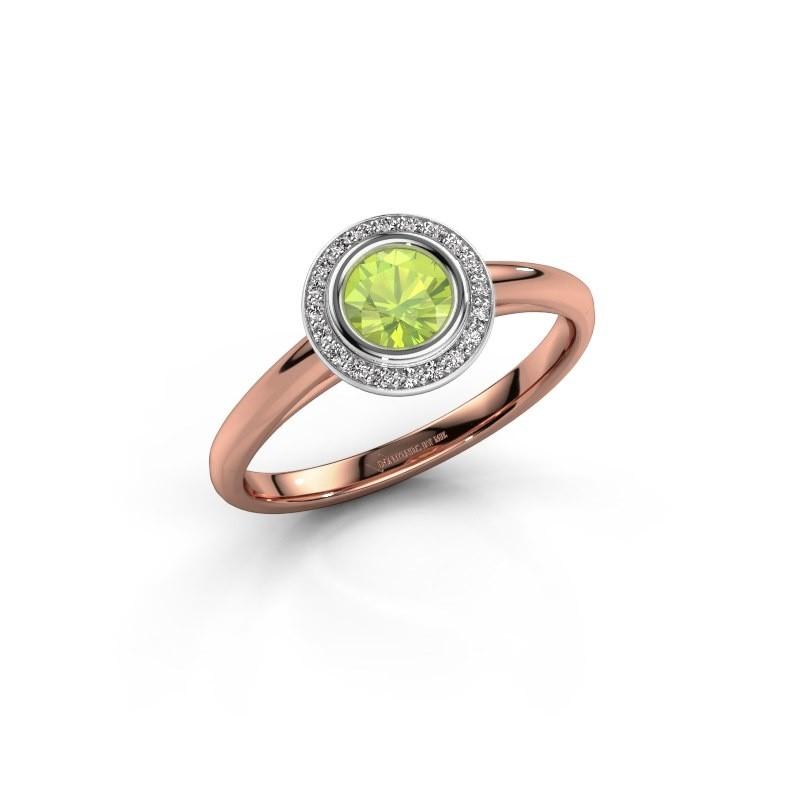 Promise ring Noud 1 RND 585 rose gold peridot 4.7 mm