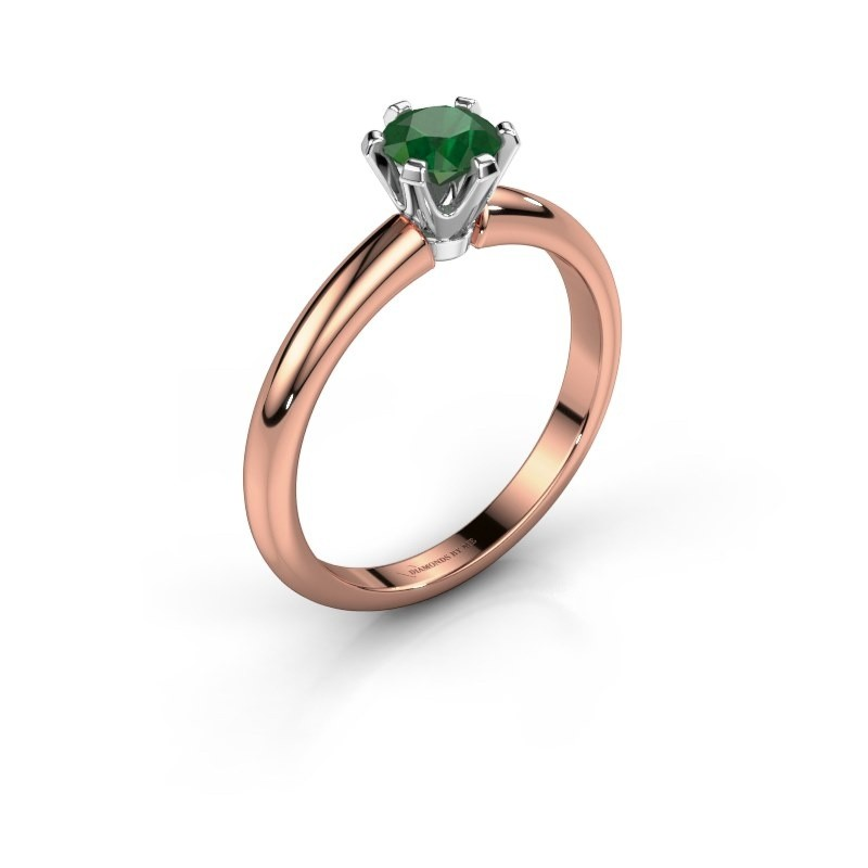 Verlovingsring Tiffy 1 585 rosé goud smaragd 5 mm