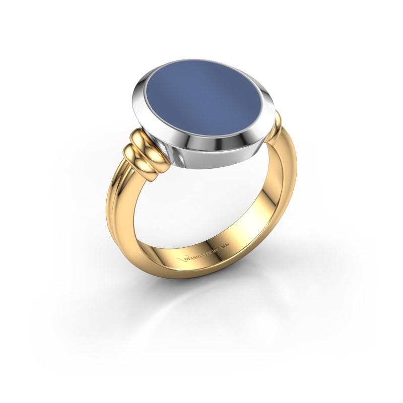 Zegelring Jake 3 585 goud blauw lagensteen 15x12 mm