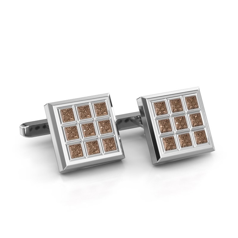 Cufflinks Clen 585 white gold brown diamond 3.06 crt