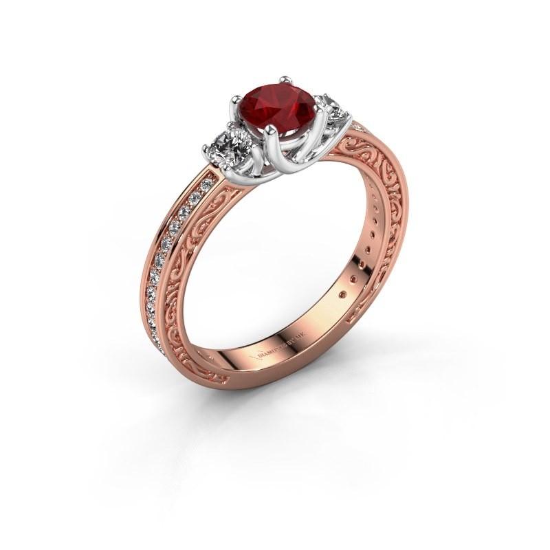 Verlovingsring Betty 2 585 rosé goud robijn 5 mm