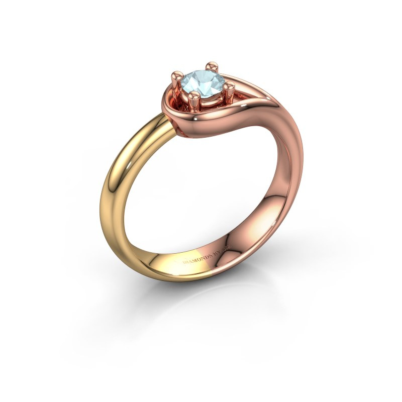 Ring Fabienne 585 rosé goud aquamarijn 4 mm